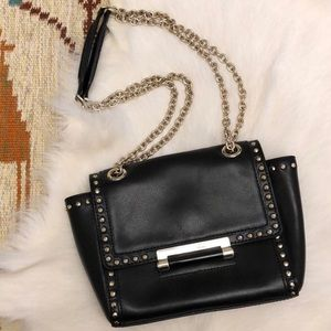 DVF Mini Studded Flap Bag Leather Black